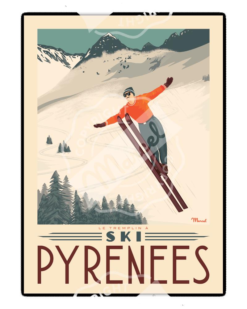 """Poster PYRENEES """"Tremplin à..."""