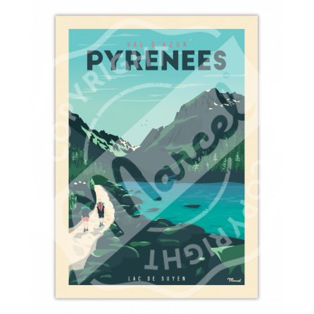 """Affiche PYRENEES """"Val d'Azun - Lac de Suyen"""""""
