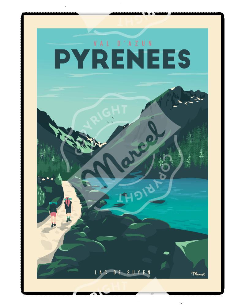 "Poster PYRENEES ""Val d'Azun..."