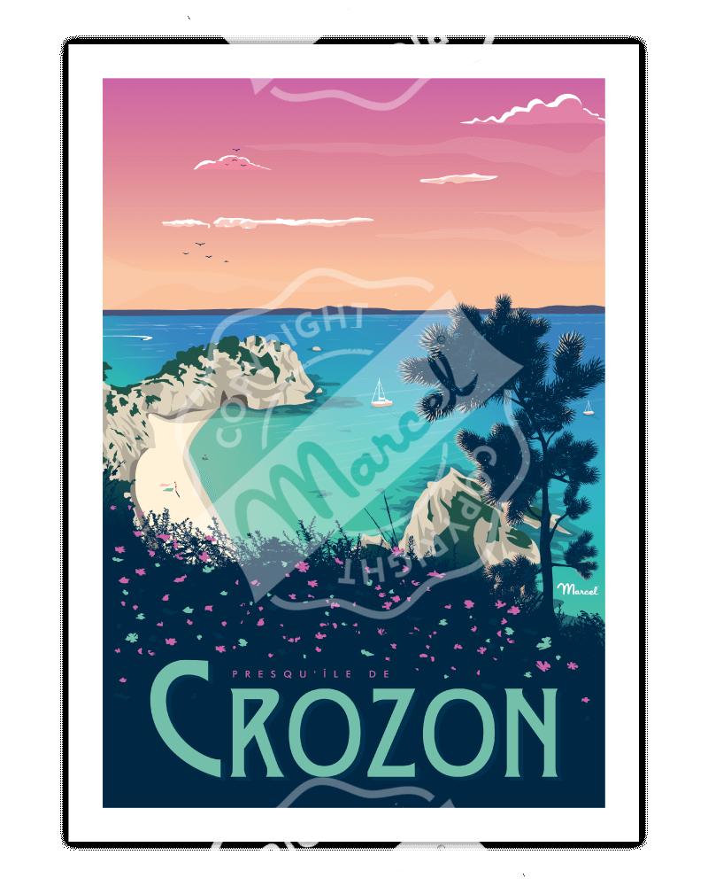 """Affiche CROZON """"Plage de l'Île Vierge"""""""