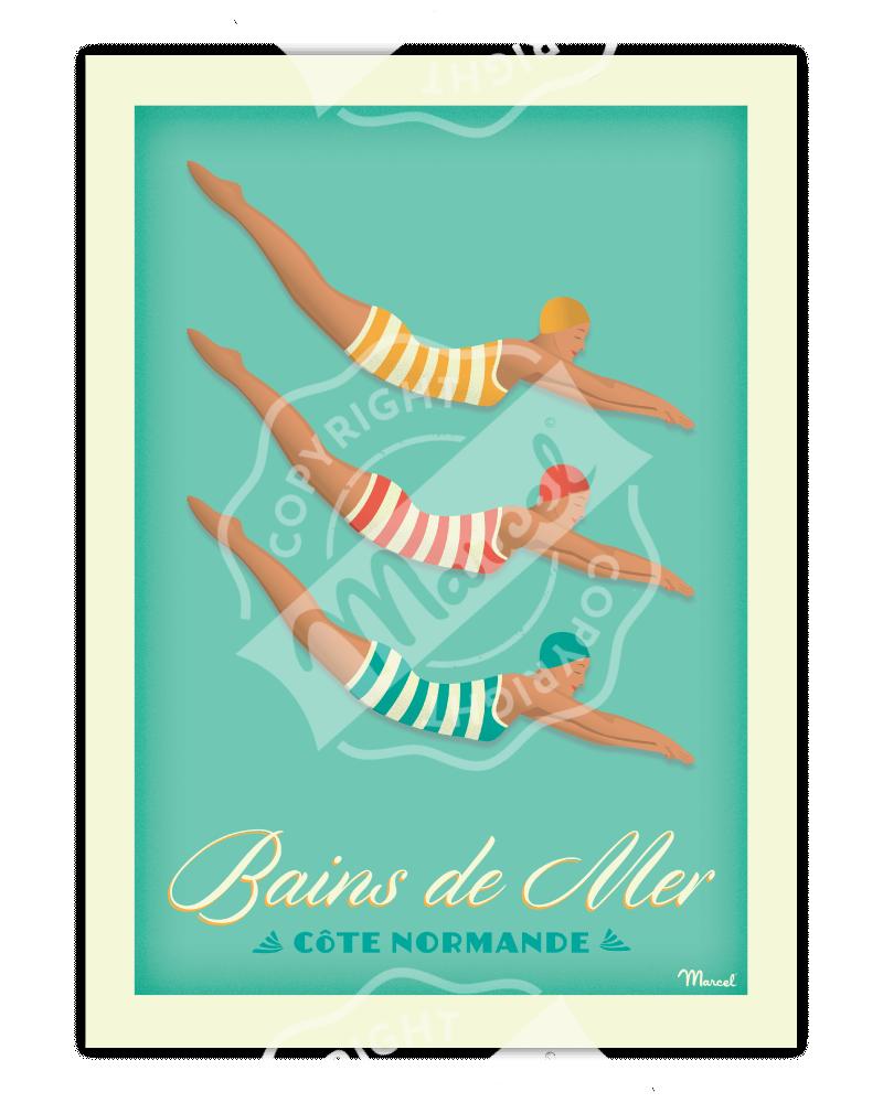 Poster BAINS DE MER «Côte...