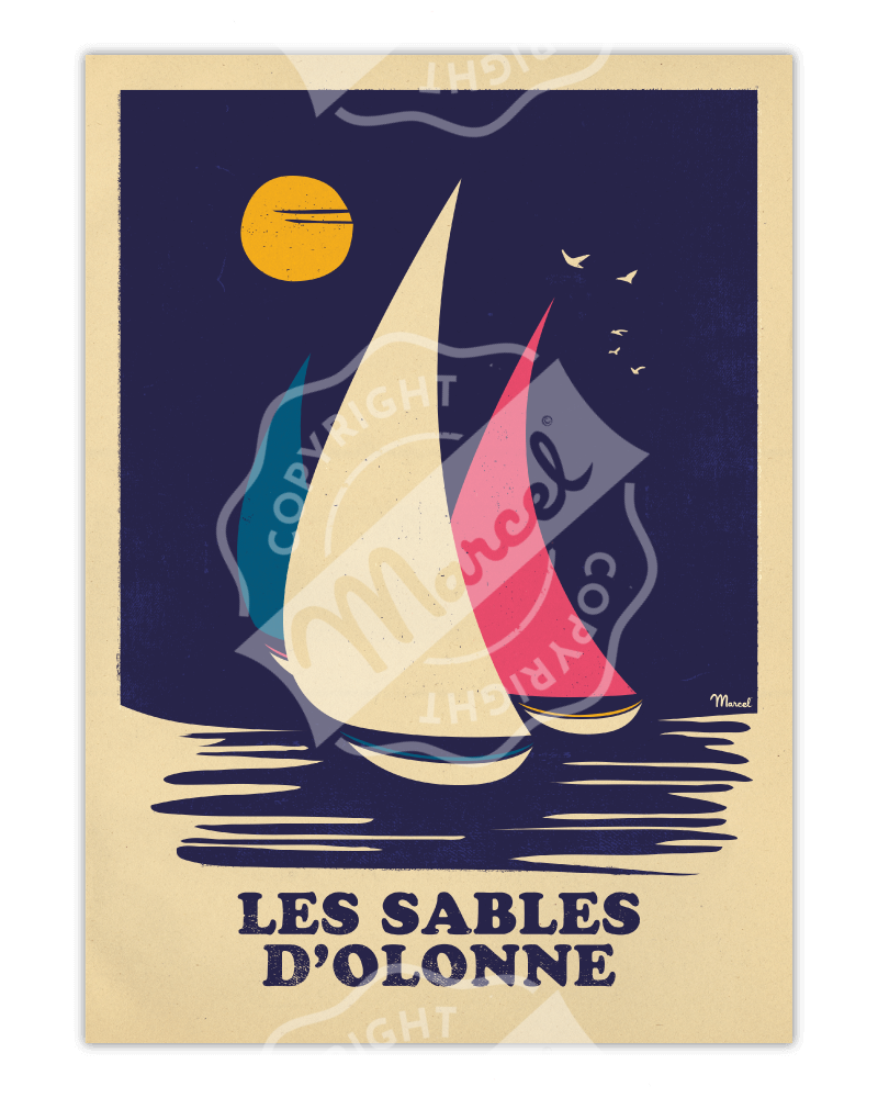 """Affiche LES SABLES D'OLONNE """"RETRO SAILING"""""""
