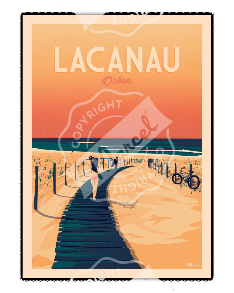"Poster Lacanau ""La Plage"""