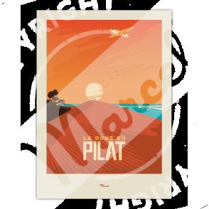 Affiche de la Dune du Pilat du Bassin d'Arcachon par Marcel Travel Posters