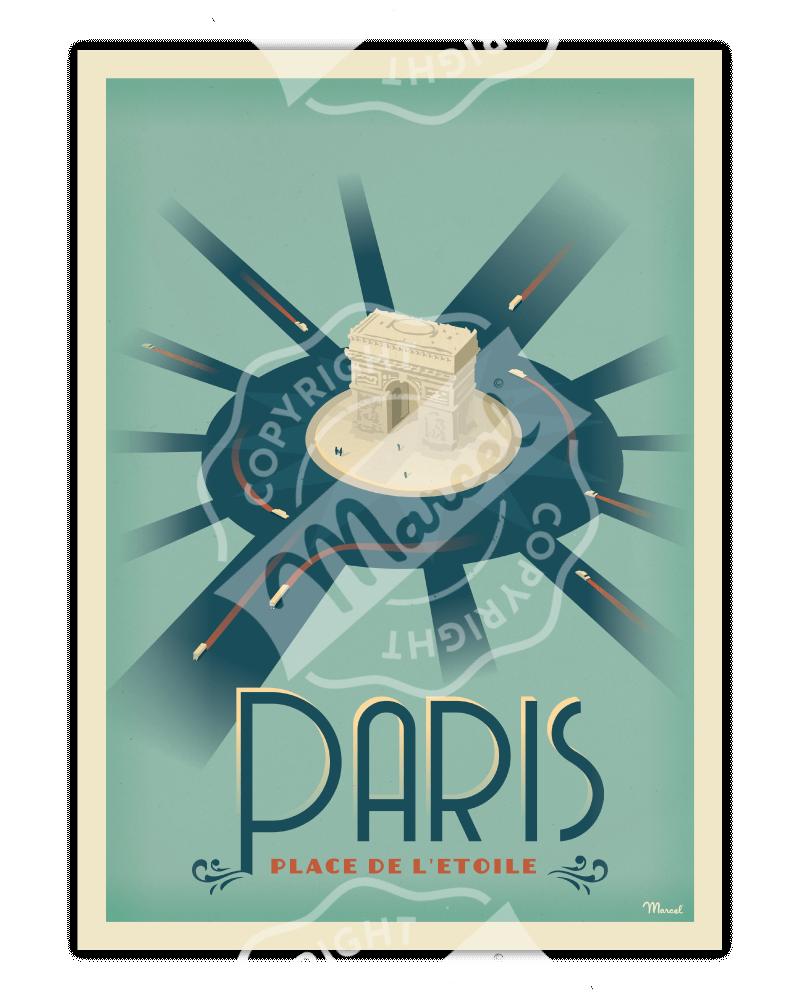 """Poster PARIS """"Place de..."""