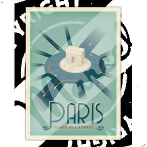 """Affiche PARIS """"Place de l'Etoile"""""""