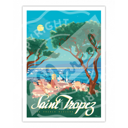 """Poster 50x70 Marcel SAINT-TROPEZ """"The French Riviera"""" Size ..."""