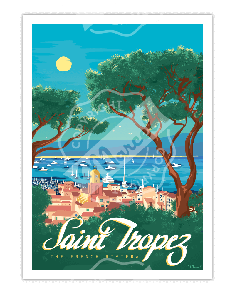 "Affiche SAINT-TROPEZ ""The French Riviera"""