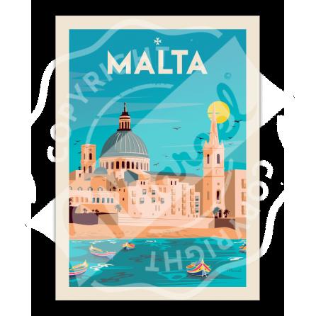 """Affiche Malta """"Souvenir from Valletta"""""""
