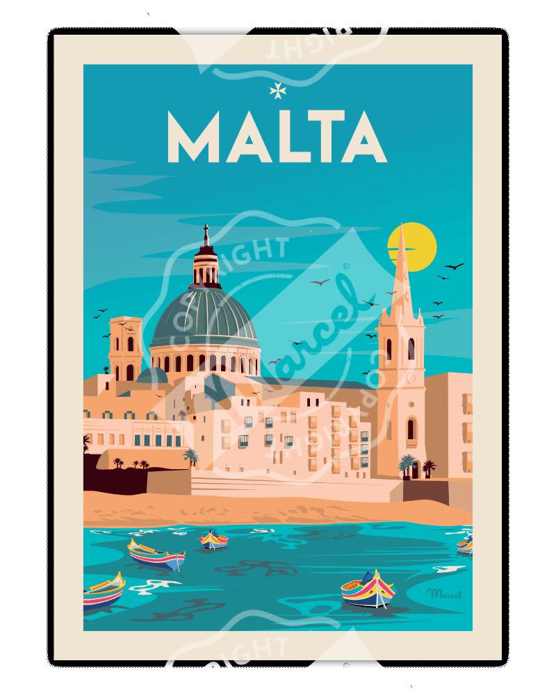 "Affiche Malta ""Souvenir..."