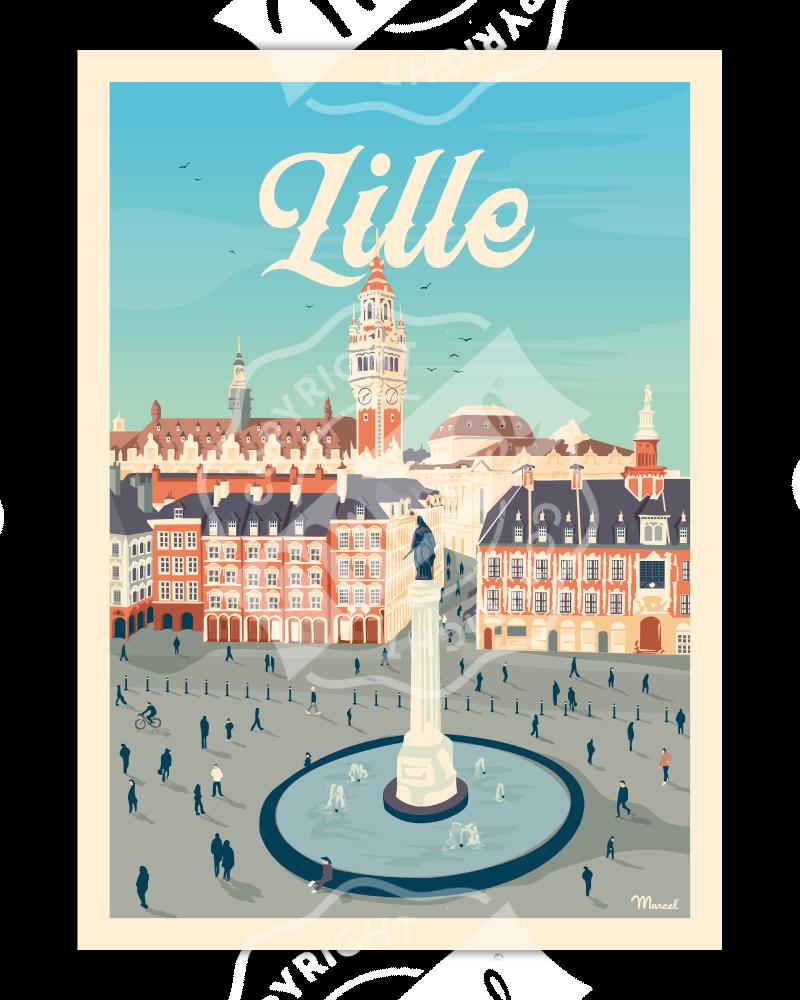 "Affiche LILLE""La Grand'Place"""