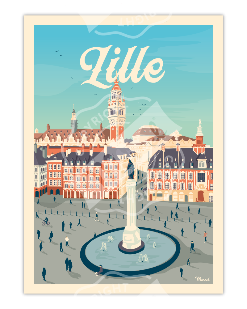 "Poster LILLE ""La Grand'Place"""