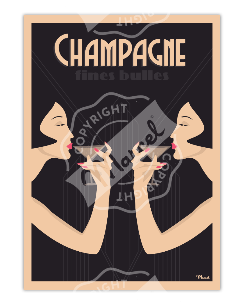 Affiche CHAMPAGNE « Fines Bulles »