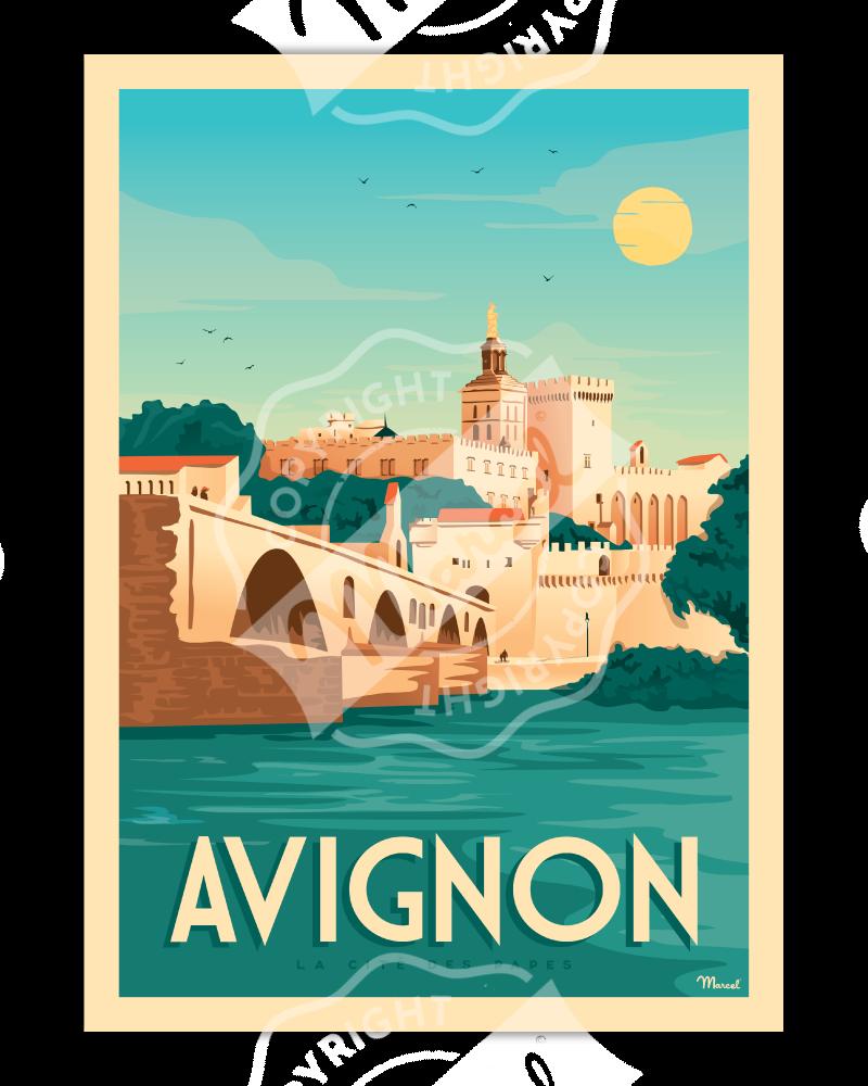 """Affiche AVIGNON """"La Cité des Papes"""""""