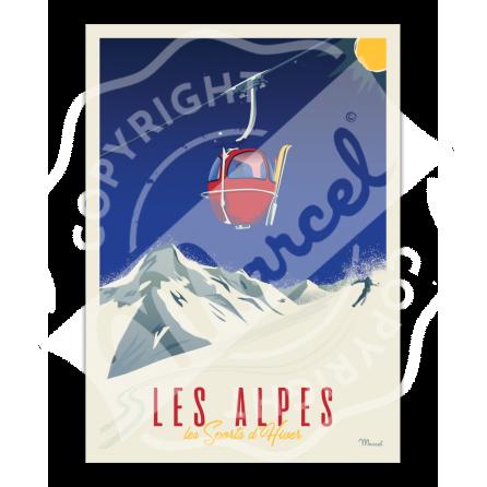 """Affiche CLASSICS WINTER """"ALPES - La Télécabine"""""""
