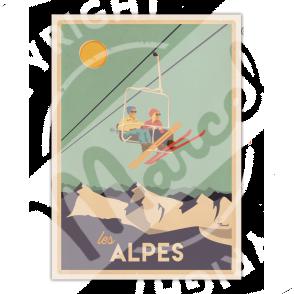 """Affiche CLASSICS WINTER """"ALPES - Le Télésiège"""