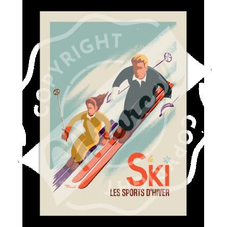 "Affiche CLASSIC WINTER ""SKI - Les Skieurs"""