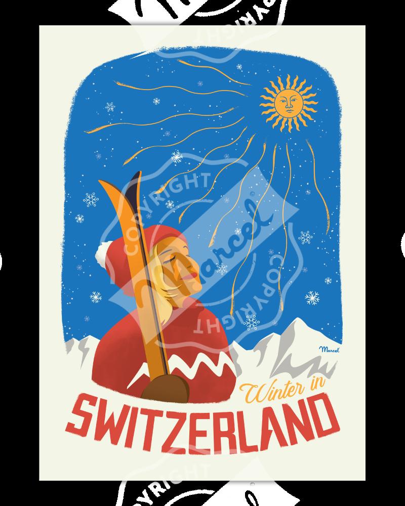 """Affiche SUISSE """"Winter in Switzerland"""""""