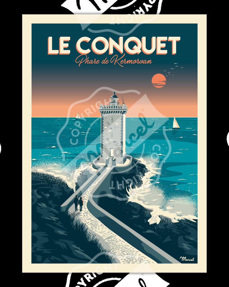 """Affiche LE CONQUET """"Phare de Kermorvan"""""""