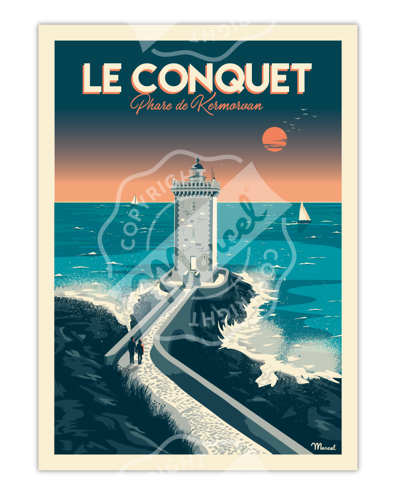 "Poster LE CONQUET ""Phare de..."