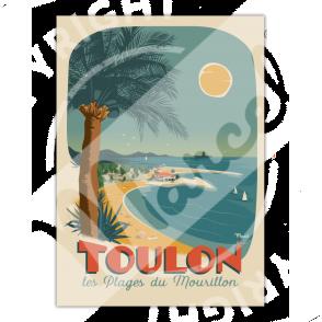 """Affiche TOULON """"Plages du Mourillon"""""""