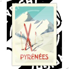 """Affiche PYRÉNÉES """"Les Skis Rouges"""""""