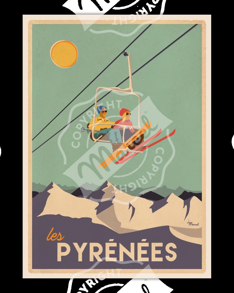 """Affiche PYRÉNÉES """"Le Télésiège"""""""