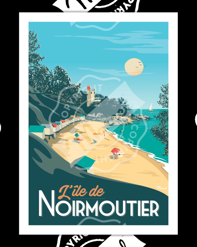 """Poster NOIRMOUTIER """"Plage..."""