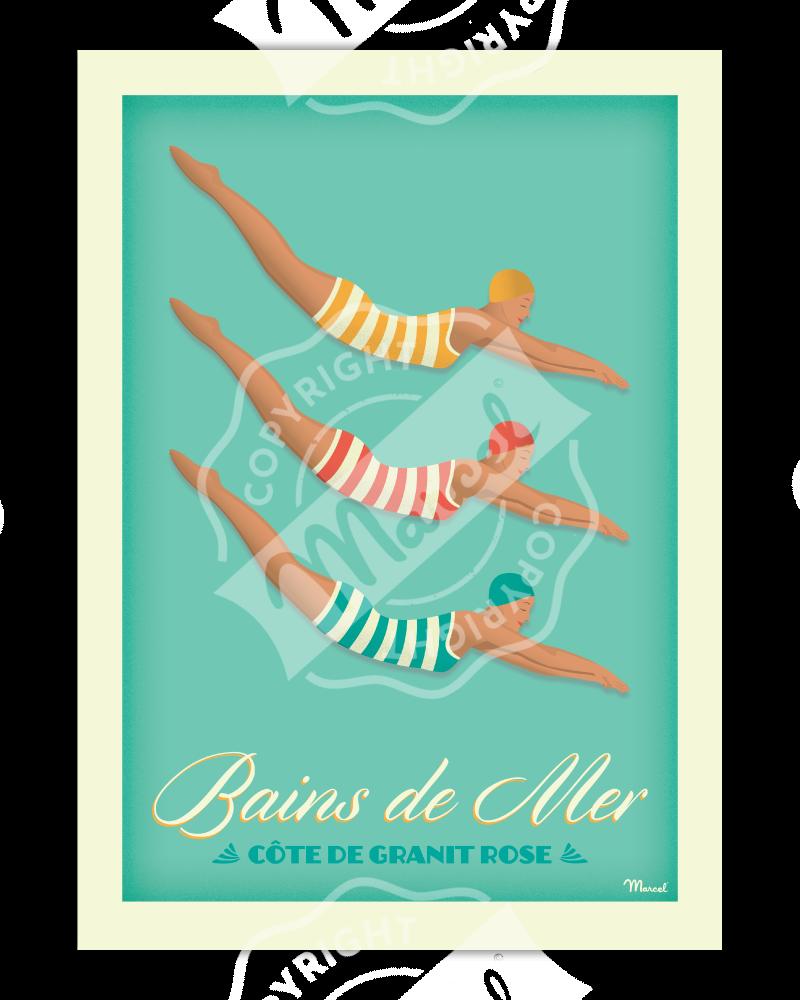 Affiche BAINS DE MER « Côte de Granit Rose »