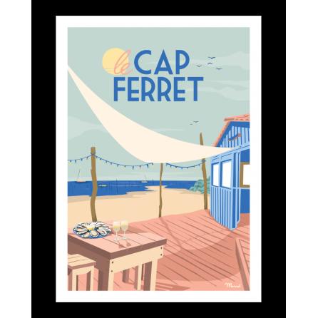 """Affiche Cap Ferret """"Cabane à Huîtres"""""""