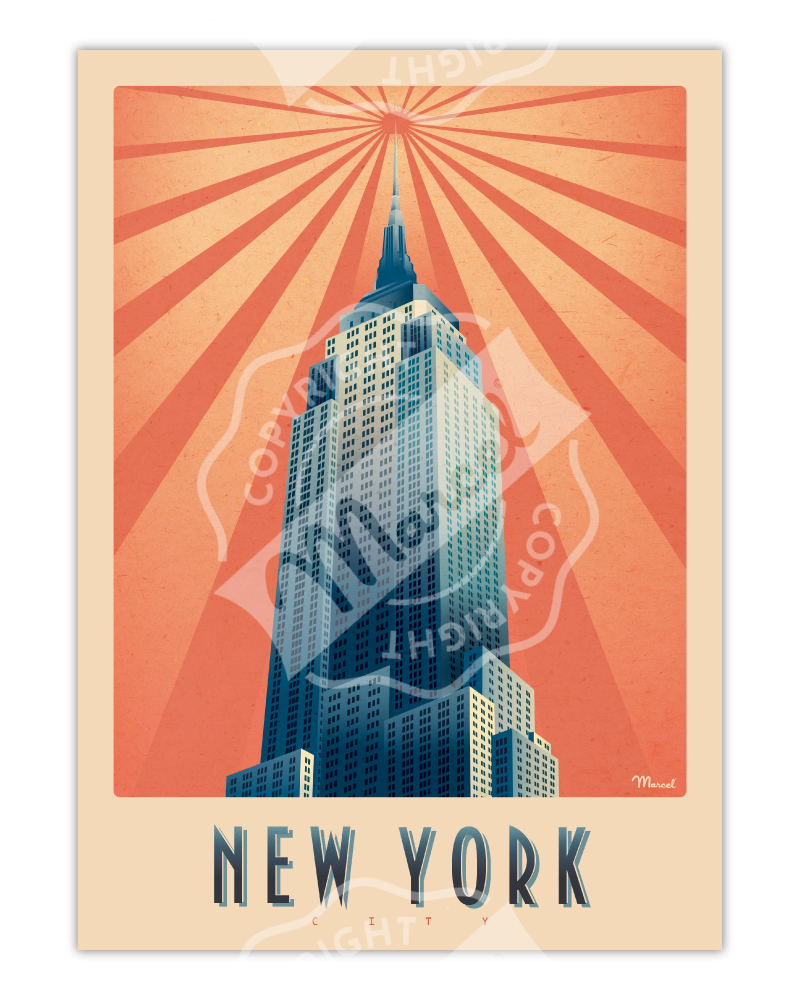 "AFFICHE NEW YORK ""Empire State Building"""