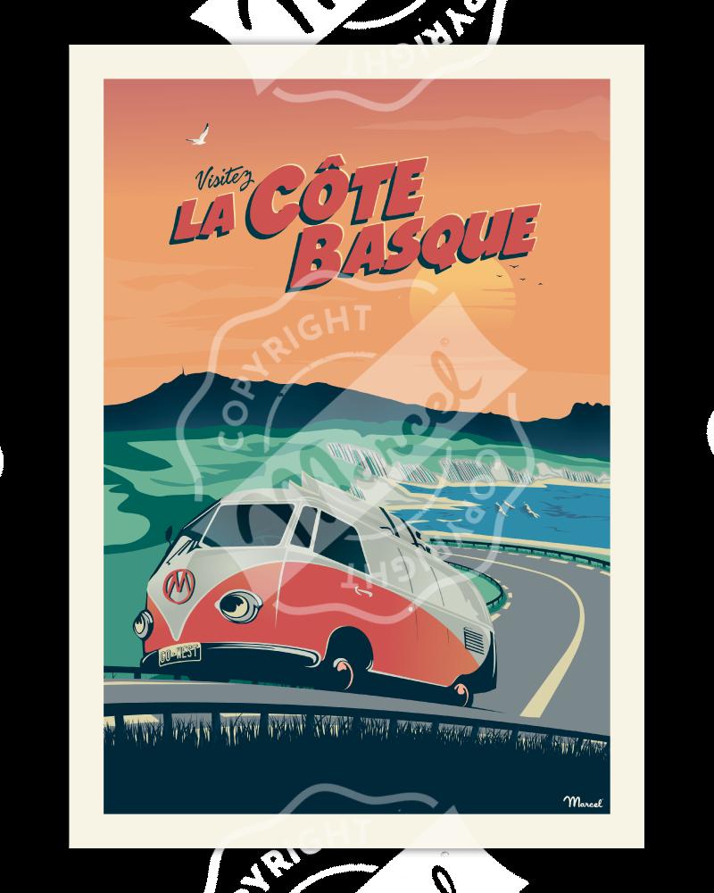 """Affiche CÔTE BASQUE """"La Corniche"""""""