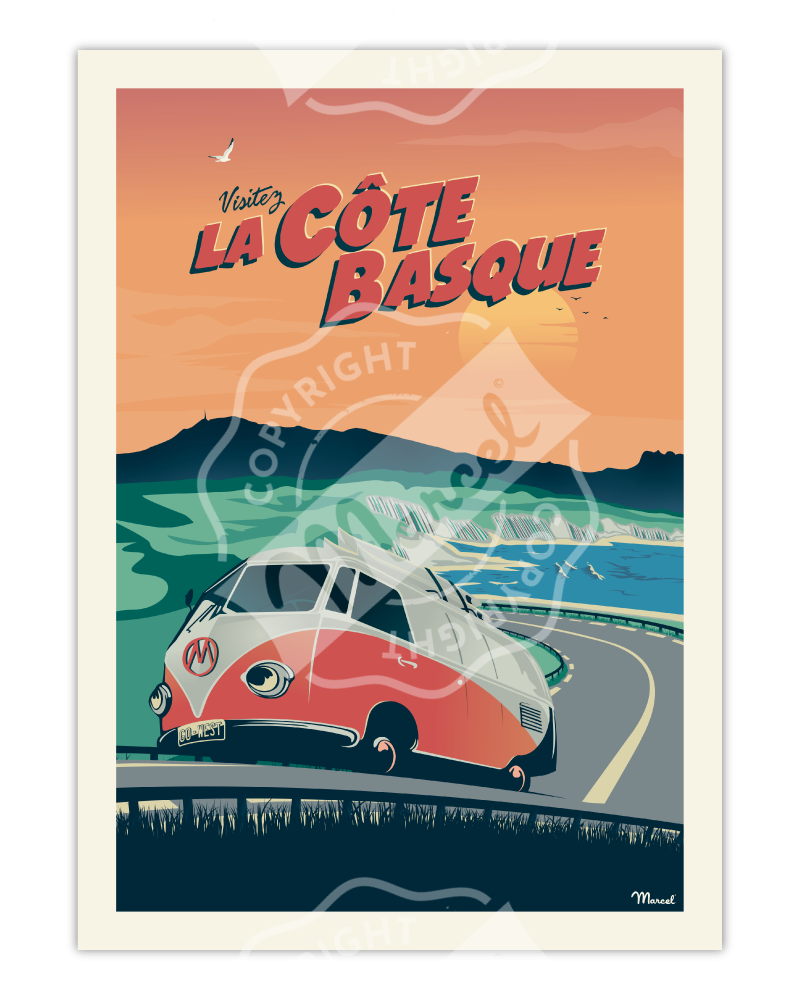 "Poster CÔTE BASQUE ""La..."