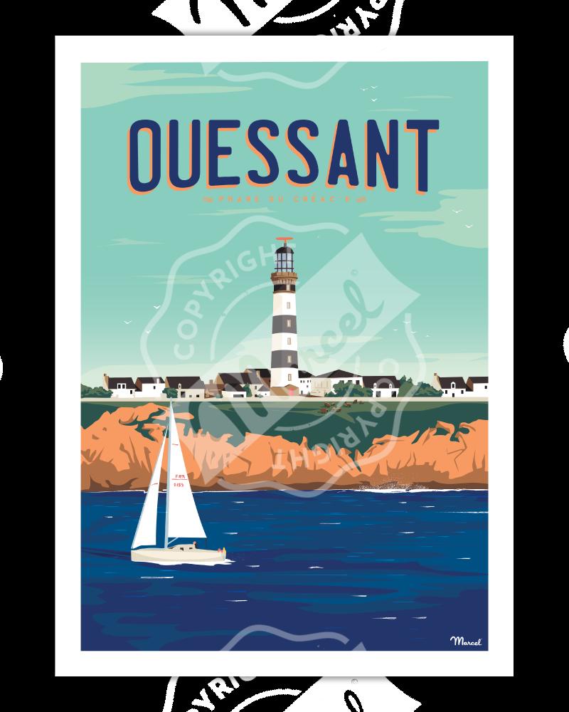 """Poster OUESSANT """"Phare du..."""