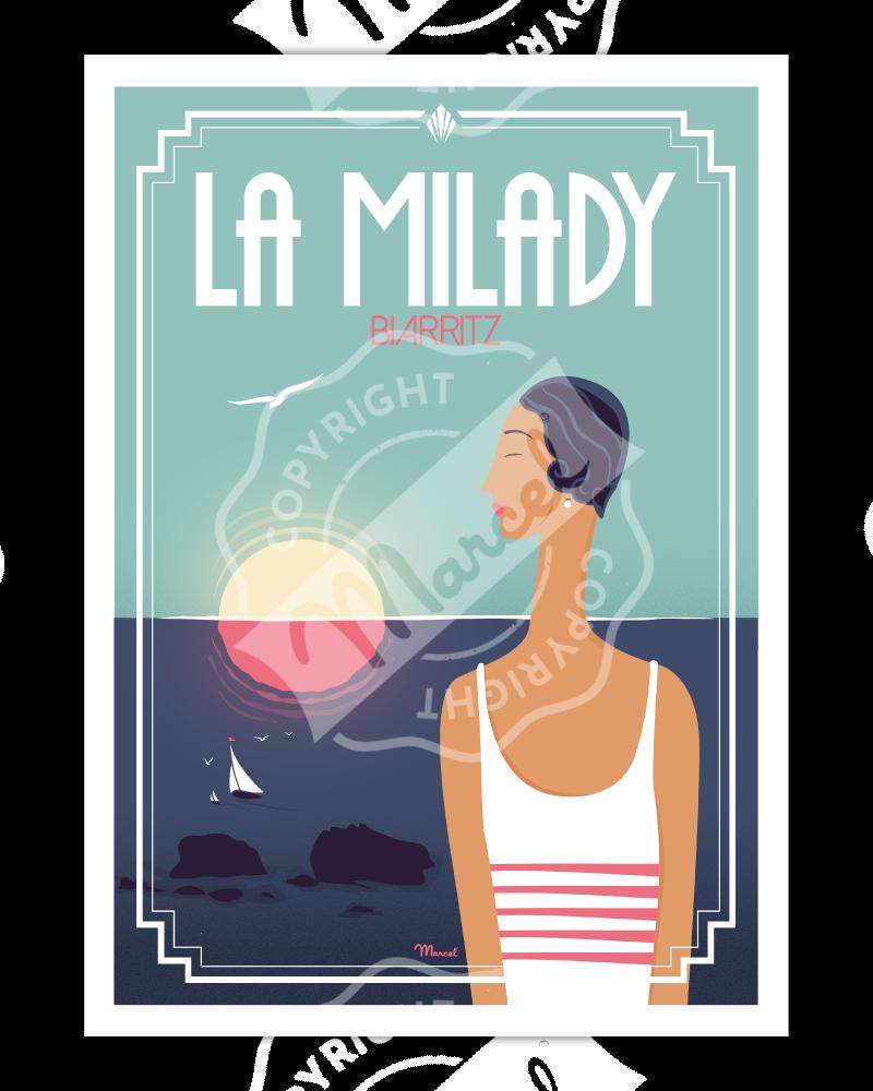 "Poster Biarritz ""La Milady"""