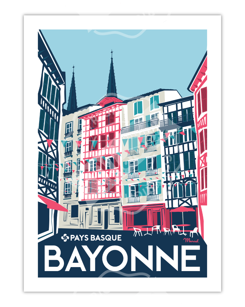 "Poster Bayonne ""Rue..."