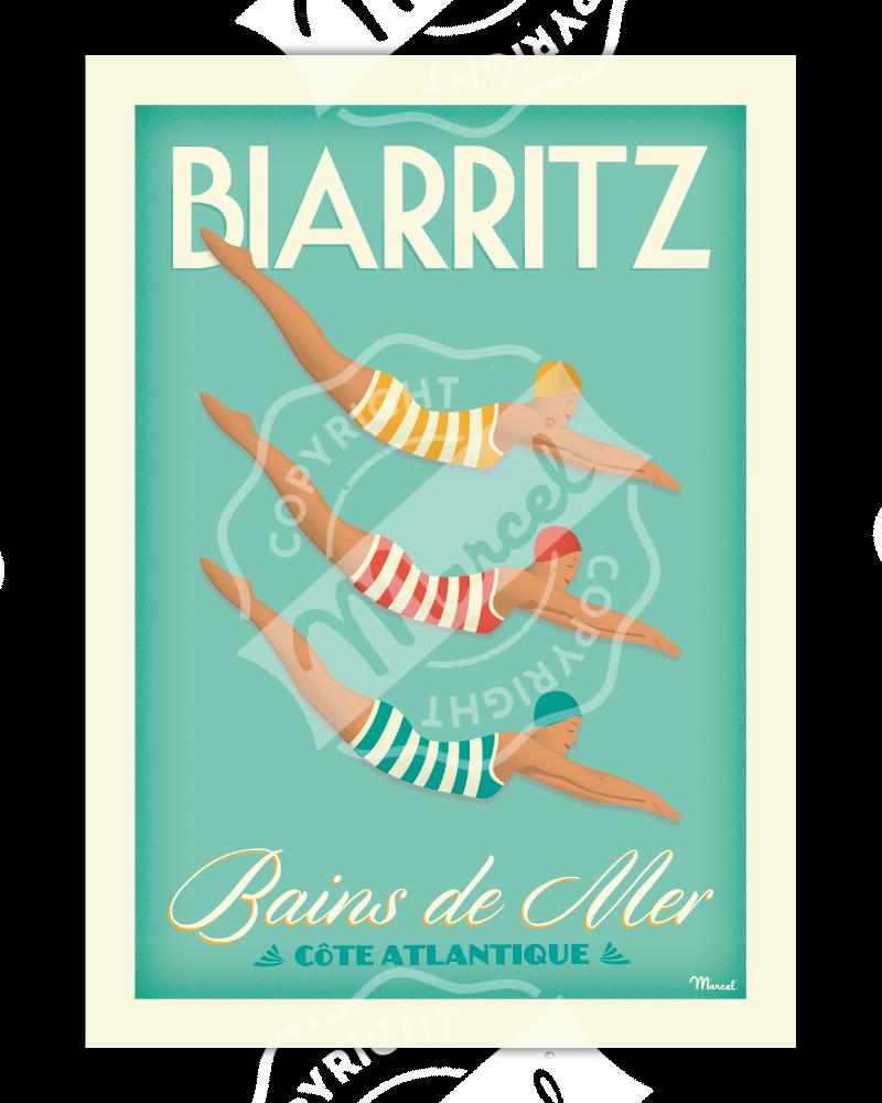 """Poster Biarritz """"Bains de Mer"""""""