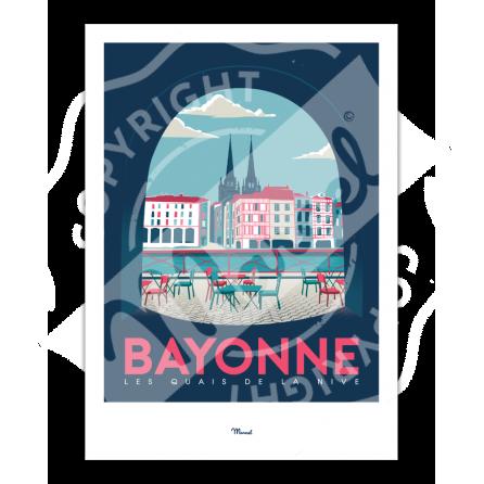 """Affiche Bayonne """"Quais de Nive"""""""