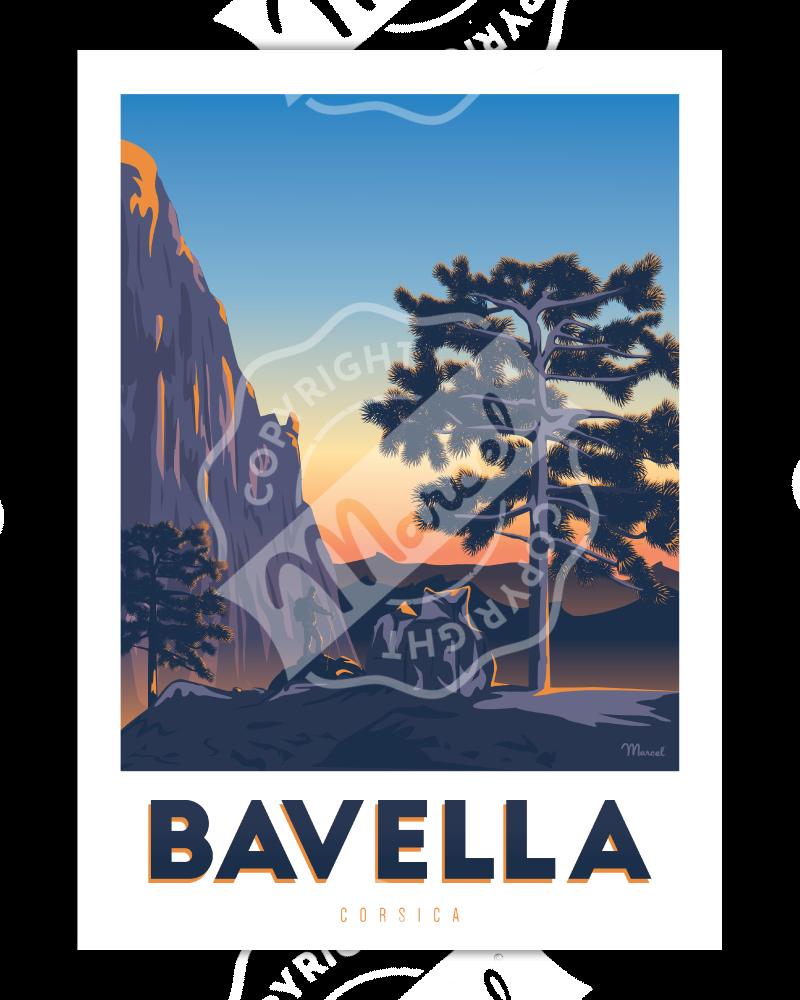 """Affiche Corse """"Randonnée à Bavella"""""""