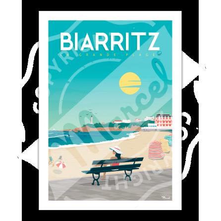 """Affiche Biarritz """"Vacances à la Grande Plage"""""""