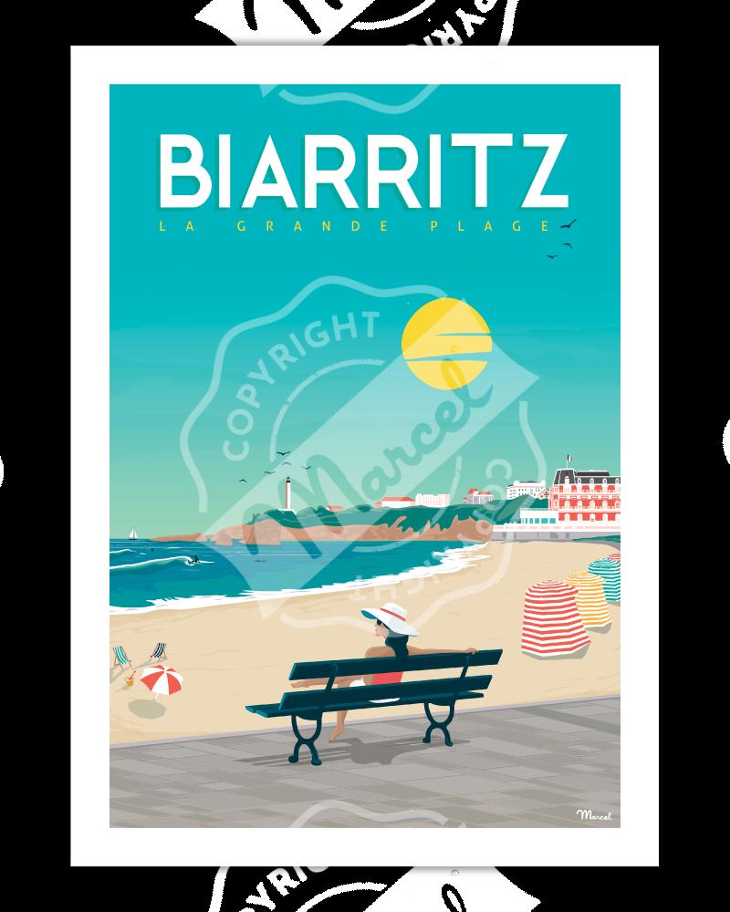 "Poster Biarritz ""Vacances à..."