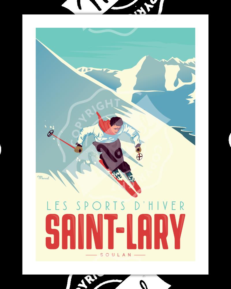 "Poster  Saint-Lary ""Le Skieur"""