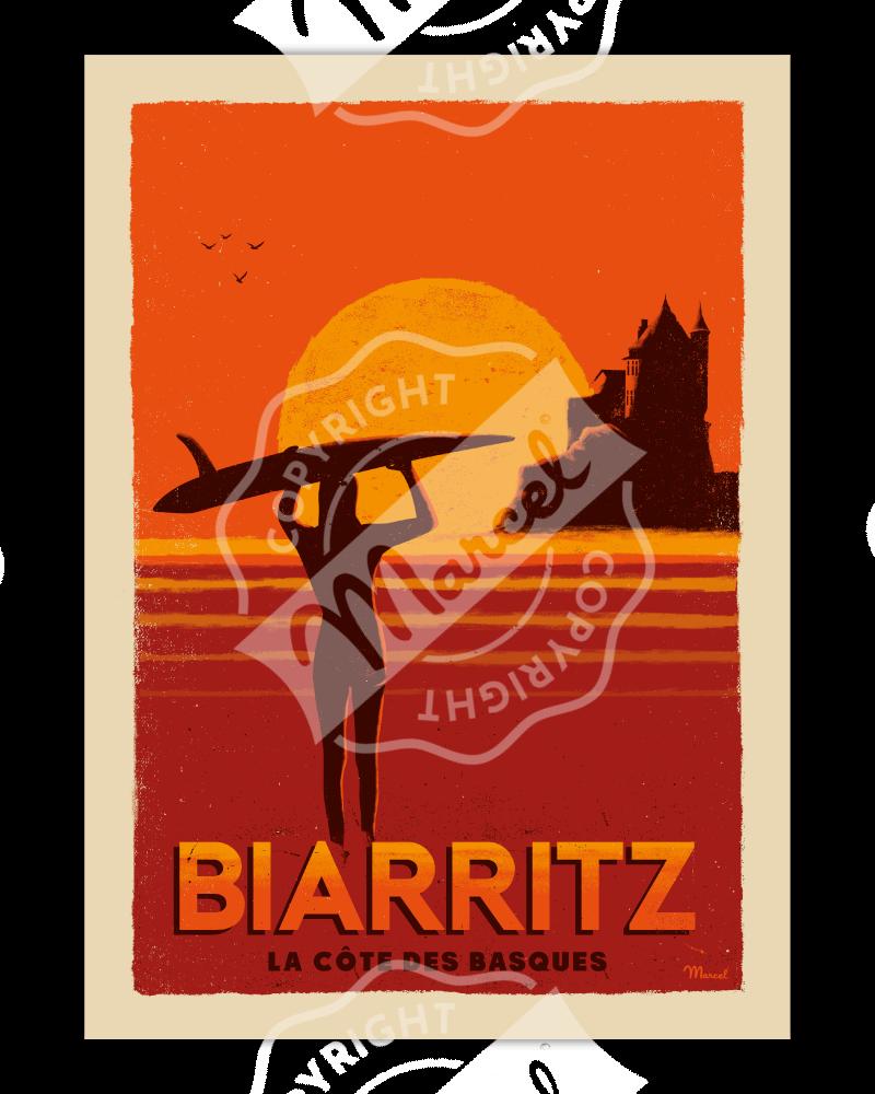 """Poster Biarritz """"Côte des..."""