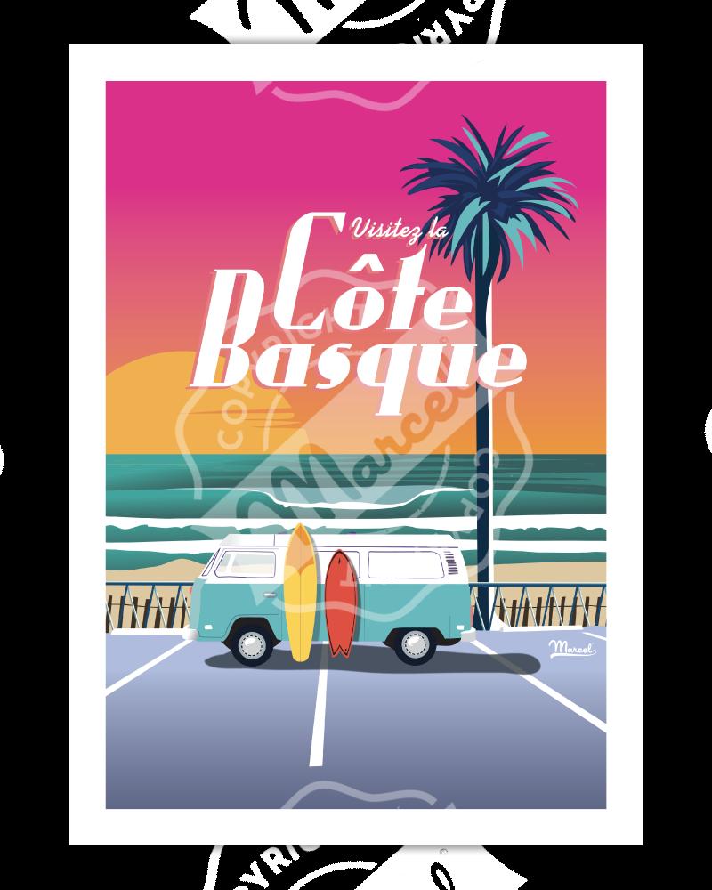 """Poster Côte Basque """" Van..."""