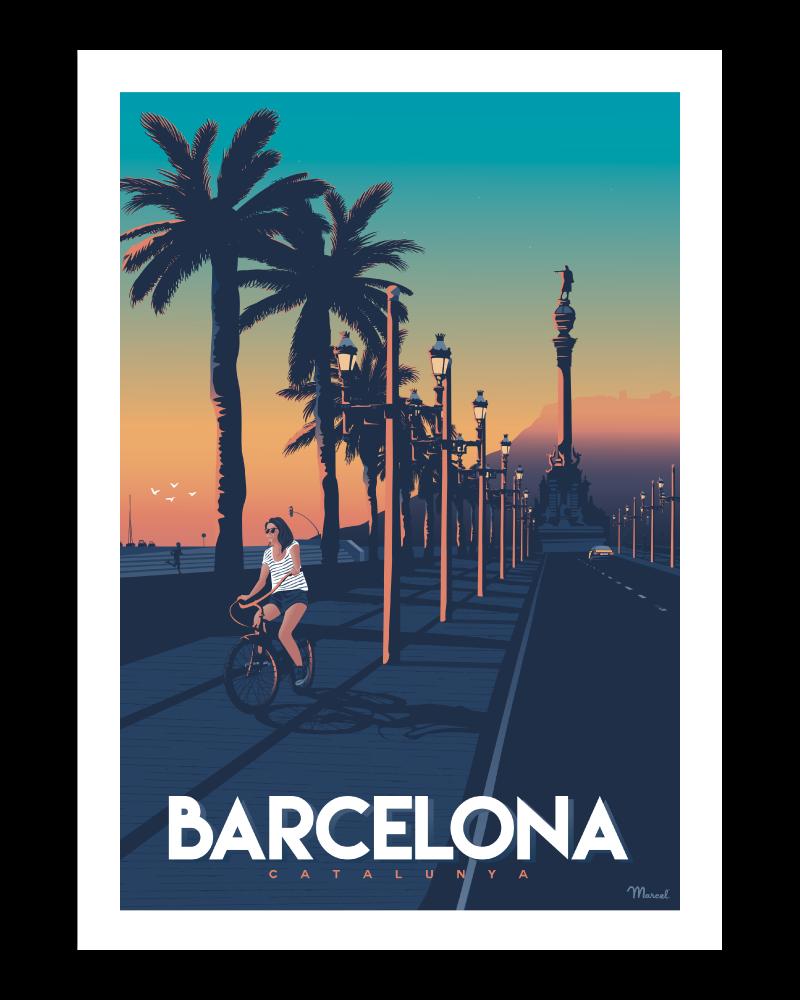 """Affiche Barcelona """"Passeig..."""