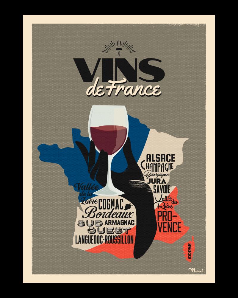 Poster Marcel VINS DE FRANCE