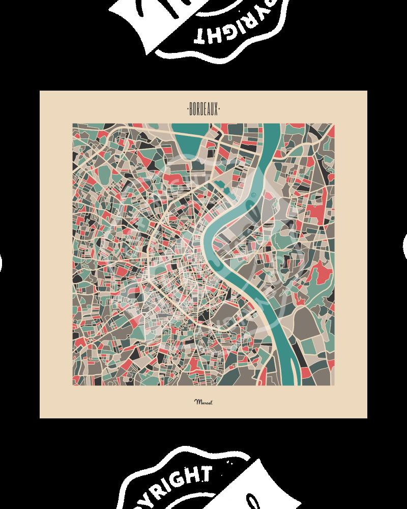 """Affiche Bordeaux """"Plan Mozaic"""""""