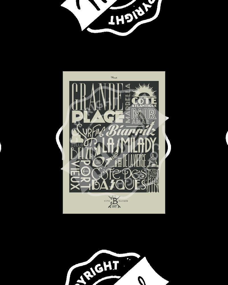 "Postcard Biarritz ""Typography"""