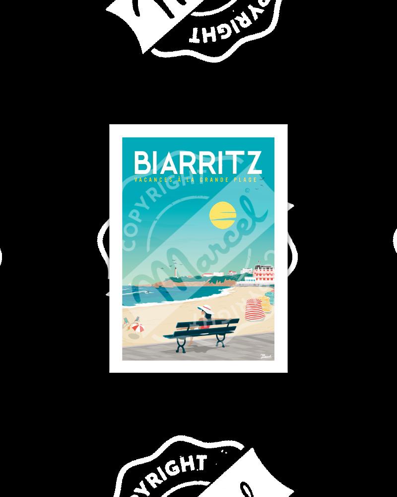 "Postcard Biarritz ""Vacances..."