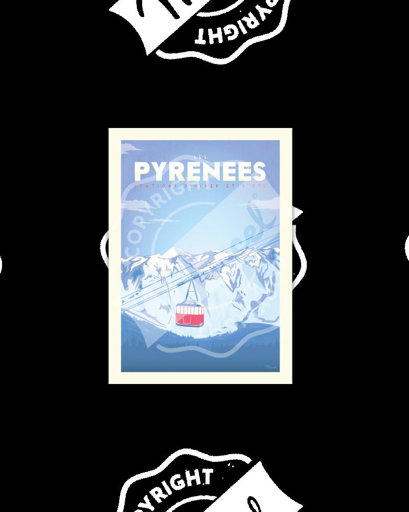 """PYRENEES """" Téléphérique """""""